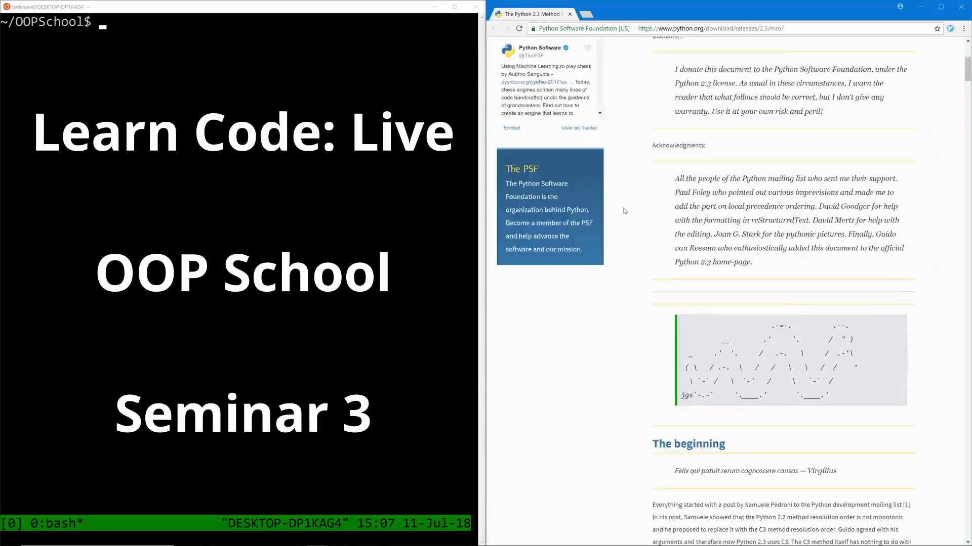 Learn Code The Hard Way - LCLive OOPSchool S3