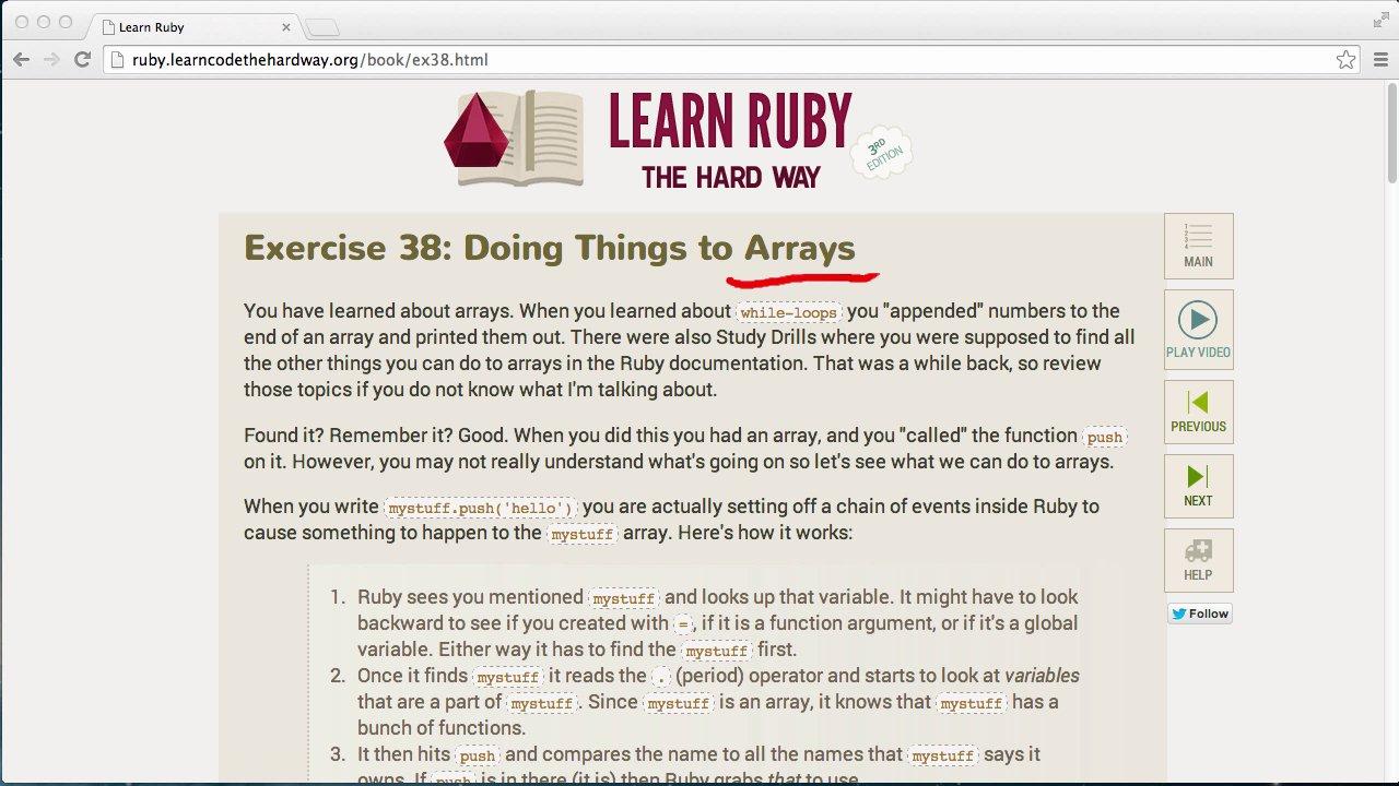 Learn Code The Hard Way - LRTHW Ex38