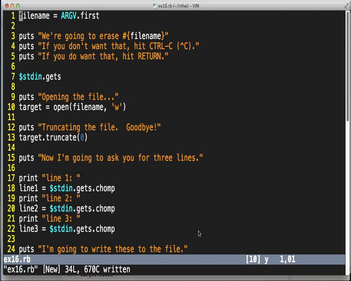 Learn Code The Hard Way - LRTHW Ex16