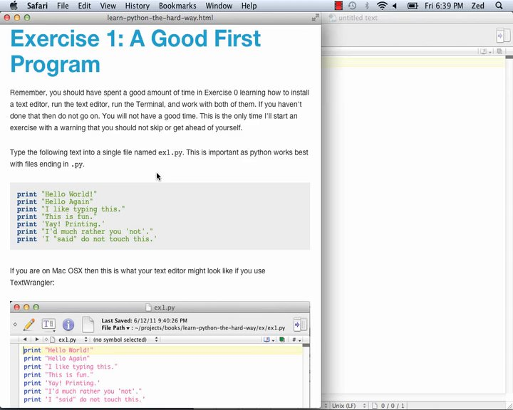 Learn Code The Hard Way - LPy2THW Ex01