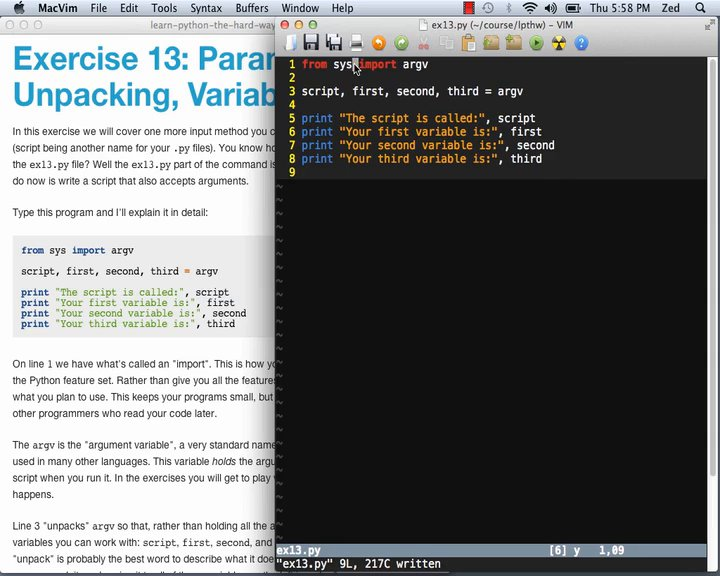 Learn Code The Hard Way - LPy2THW Ex13